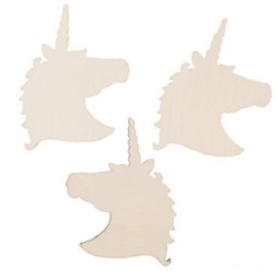 The DIY Unfinished Wood Unicorn Shapes measure 3 3/4 inches tall and 2 3/4 inches wide. They can be decorated with paint, markers, stickers, glitter, or whatever you want! Contains twelve (12) per package.