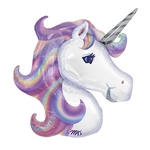 "This 33"" Pastel Unicorn Balloon is a printed foil balloon in the shape of a unicorn head. It features a white unicorn with a pastel colored flowing mane and silver metallic printed horn. Ships flat. Inflate with helium. One per package."