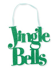 Jingle Bells Hanging Glitter Sign