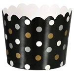 These Small Scalloped Mini Paper Cups feature an all over pattern of multi colored gold, silver, and white dots printed on a black background. Cups measure 2 inches in diameter and 1-3/4 inches in height. 36 mini paper cups per package.  Oven safe to 350.