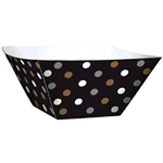 The Mini Paper Square Bowls - Black,  feature square paper bowls printed with a silver, gold, and white polka dot design. Measures 1.8 in x 1.8 in x 1.8 in and contains 24 pieces per package. Perfect for buffet tables or treats on the go!