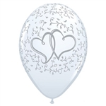 The Entwined Hearts Latex Balloons (6/pkg) are the perfect balloons for any wedding or anniversary celebration. Each white helium quality latex balloon is printed with two interlocking silver hearts against a background of silver vines. Six per pkg.