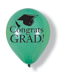 Green Congrats Grad Latex Balloons