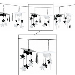 Black and White 3-D Grad Cap Garland