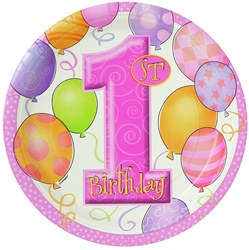 Pink 1st Birthday Lunch Plates (8/pkg)