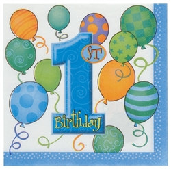 Blue 1st Birthday Beverage Napkins (16/pkg)