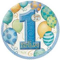 Blue 1st Birthday Lunch Plates (8/pkg)