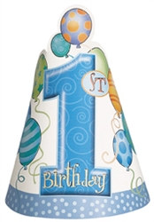 Blue 1st Birthday Party Hats (8/pkg)