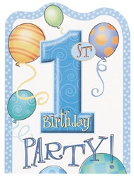 Blue 1st Birthday Invitations (8/pkg)