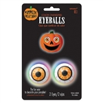 Round plastic eyeballs feature a color changing light, operated with a simple push of the button. Battery included. Simply push the pointed backs into a pumpkin, and you have an instant Halloween Jack-o-Lantern! No carving necessary! 1 pair per package