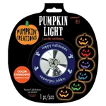 This handy little light turns on and off with the press of the plastic lens. Colors change from orange, red, purple, blue, and green. Requires three AAA Batteries (not included). Great for lighting up jack-o-lanterns and other decor items. One per package