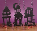 Haunted House Silhouette Glittered Centerpiece (3/pkg)