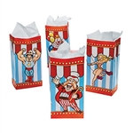 Big Top Paper Bags make fantastic treat or favor bags for your next circus or carnival theme party. Each package contains twelve paper bags measuring 10 x 3-1/4 inches, decorated with colored stripes of red and blue along with popular circus characters.