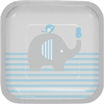 The Little Peanut Blue Dessert Plates are the perfect size to serve cake or appetizers at the baby shower. Decorated with an adorable little elephant balancing a blue peanut on his trunk, these square plates come eight to a package.
