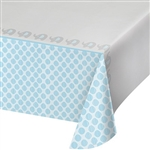 The Little Peanut Blue Tablecover protects the tables of your baby shower in an adorable pattern of friendly elephants and a light blue color scheme. 54 x 102 plastic table cover fits most rectangle table. One per package. Also available in pink!