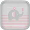 The Little Peanut Pink Dessert Plates are perfectly sized to serve cake and other treats to your baby shower guests. The square coated paper plates feature a baby elephant against a color scheme of pink, grey and white. Eight plates per package.