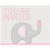 The Little Peanut Pink Invitations will announce the baby shower for the new little boy. Printed in a pink, grey and white color scheme each invitation features an elephant balancing a pink peanut on her trunk. Eight invitations and envelopes per pkg.