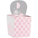 The Little Peanut Pink Favor Boxes are the perfect size to send sweet treats home with your baby shower guests. Printed in a pink, grey, and white color scheme each box is topped with a cutout of an adult and baby elephant. Eight boxes per package.