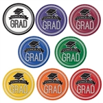 Congrats Grad! Serve up your graduation party food on these dinner sized paper plates. Choose your school color, and you'll receive a package of 18 brightly colored round premium strength coated paper plates.