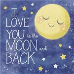 To the Moon and Back Luncheon Napkins feature the phrase I Love you to the Moon and Back printed on these 2-ply paper napkins. A yellow moon and stars are printed against a dark blue background. Sixteen napkins per package.