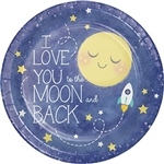 To The Moon and Back Dinner Plates feature that lovely sentiment I love you to the moon and back, along with an image of the moon, stars, and a small rocket ship on a dark blue background. 9-inch coated paper plates come in a package of eight.