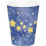 To the Moon and Back Hot/Cold Cups will serve refreshing beverages to your baby shower guests. A yellow moon, stars and rocket ship are printed against a dark blue background. Each cup holds 9 ounces of hot or cold liquid. Eight cups per package.