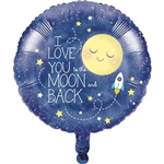 To the Moon and Back Metallic Balloon is perfect for a To the Moon and Back themed baby shower. Made of foil, and printed on both sides with the phrase I Love You to the Moon and Back, it measures approximately 18 inches when fully inflated with helium.