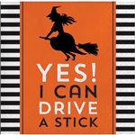 The Halloween Humor Stick Beverage Napkins will add some funny to your Halloween party! Printed with the phrase Yes I Can Drive A Stick, the napkins feature the silhouette of a witch on her broom. 16 2-ply napkins per package. Measures 5 inches square.
