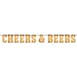 The Cheers & Beers Banner features card stock letters printed in a wood grain look. The letters come pre-strung on a piece of jute twine. Just remove from packaging and hang! Measures 6 inches tall and 6.6 feet long.