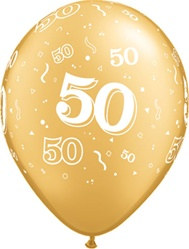 Gold 50th Anniversary Latex Balloon (5/pkg)