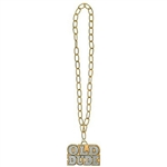 Wear this Old Dude Necklace with pride. The large gold plastic chain measures 36 inches and is topped off with a large medallion with the words OLD DUDE engraved into the plastic. Perfect for costumes and gag gifts.