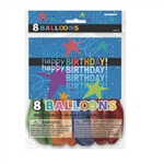These Happy Birthday Balloons are colorful, helium quality balloons printed with Happy Birthday, serpentine swirls, stars, and confetti. Inflates to 12 inches. Each package contains an assortment of 8 uninflated balloons.