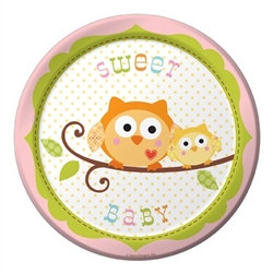 Happy Tree Baby Girl Dessert Plates (8/pkg)