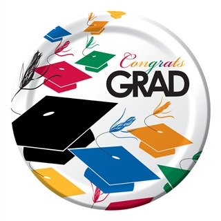 Colorful Grad Lunch Plates (8/pkg)