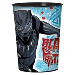 16 ounce food safe BPA free black plastic cups feature the movie character T'Challa and the name Black Panther in a wraparound print. Perfectly sized for snacks, party favors, or beverages, they make a great memento to send home with guests.