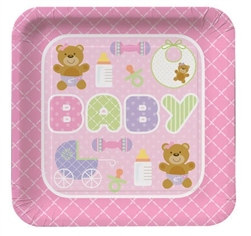 Teddy Baby Pink Lunch Plates (8/pkg)