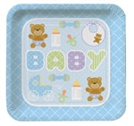 Teddy Baby Blue Lunch Plates (8/pkg)