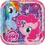 "These colorful My Little Pony Square Plates 9"" are perfectly sized to serve sandwiches and snacks to pint-sized fans of the ponies. Pinkie Pie and Rainbow Dash are printed on these 9 inch square coated paper plates. Eight plates per package."