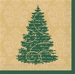 These 2-ply Elegant Christmas Beverage Napkins feature a sophisticated green border with a Christmas tree on it. The package comes with 16 festive and fun napkins.