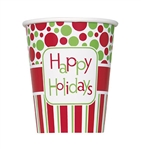"These Happy Holidays Cups are red, green and white and even say ""Happy Holidays"" on them. Whether you want hot chocolate or cold eggnog, these cups are perfect for the occasion. Comes eight high quality, festive cups per package."