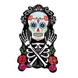"The 28"" Day of the Dead Balloon is a shaped black foil balloon printed on both sides with a decorated white sugar skull, rib cage and arms along with traditional Day of the Dead colored roses. Ships flat. Inflate with helium. One per package."