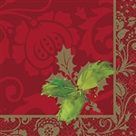 Our high quality Elegant Holiday Beverage Napkins are the finishing touch to your holiday table.These napkins feature holly leaves on a luxurious multi-shaded red background. The napkins are 2-ply and measure 10 inches by 10 inches when fully opened.