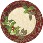 These Elegant Holiday Dinner Plates are perfect for this time of year and since they are heavy duty, they can hold a good amount of food. They feature an elegant mix of red, gold and green that you're sure to love. Comes eight plates per package.