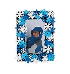Foam Snowflake Photo Frame Magnet Craft Kit