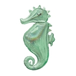 This stunning 38-inch seahorse shaped foil balloon is fully printed in a shimmering, iridescent sea foam green color. Perfect for any mermaid or Under the Sea party. One per package. Ships flat.