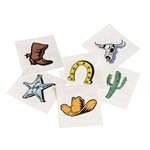 The Western Cowboy Tattoos are temporary, colorful tattoos that can be enjoyed by guests young and old. Each pkg includes 144 assorted tattoos in designs including cowboy boot or hat, sheriff badge, cactus, horseshoe and longhorn skull. 1.5 inch square.