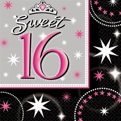 Sweet 16 Sparkle Luncheon Napkins, 16/pkg