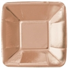 The Rose Gold Appetizer Plates are made of coated paper and measure 5 inches. They have a metallic finish giving them a beautiful shiny appearance. Contains eight (8) per package. Do not microwave