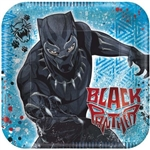"The Marvel Black Panther Plates 7"" are made of scalloped paper and measure 7 inches. They're bright blue with a bold Black Panther displayed. They measure 7 inches. Contains 8 plates per package."