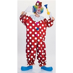 This adult size polkadot clown costume is a must-have accessory for any children's party. Costume includes one red and white polyester jumpsuit with a white ruffled collar and one matching polka dotted hat. Item is not eligible for return.